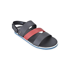 Giày Sandal Nam 3 Quai Ngang Evest D55 - Đen Phối Đỏ