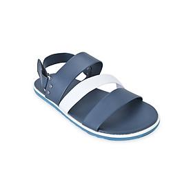 Giày Sandal Nam 3 Quai Ngang Evest D35 - Đen Phối Trắng