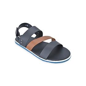 Giày Sandal Nam 3 Quai Ngang Evest C24 - Đen Phối Nâu