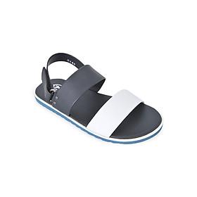 Giày Sandal Nam 2 Quai Ngang Evest D140 - Đen Phối Trắng