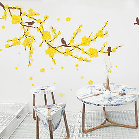 Decal Dán Tường NineWall Branch With Flower Birds HT001