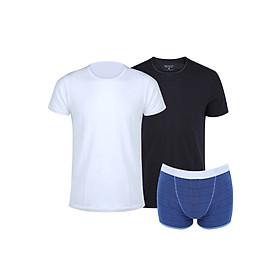 Combo 2 Áo T-Shirt Nam Cổ Tròn (Trắng + Đen) + Boxer Sọc Xanh IMVMAN TCON1-4.BFC12