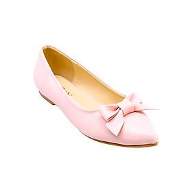 Giày Búp Bê Thắt Nơ Da Mờ Mozy MZBB41.1 - Hồng Kem