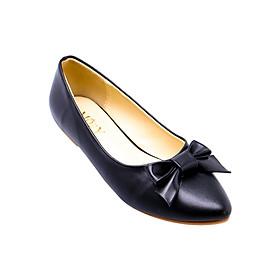 Giày Búp Bê Thắt Nơ Da Mờ Mozy MZBB41 - Đen
