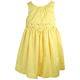 Đầm Cho Bé Gái Ninh Khương Viền 2 Hàng Hoa 261214 - Vàng