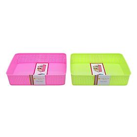 Bộ 2 Rổ Nhựa Chữ Nhật Nhựa Tự Lập TL1-998 - Nhiều Màu