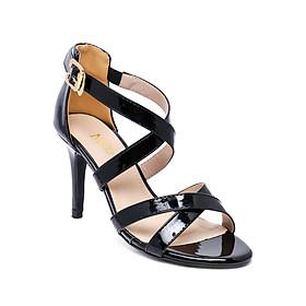 Giày Sandal Da Bóng 2 Quai Chéo Mozy - MZSD020-Đen