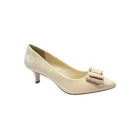Giày Gót Nhọn 5cm Bít Mũi Đính Nơ Up&Go P05-569-CRE - Kem