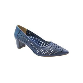 Giày Gót Vuông 5cm Bít Mũi Đục Lỗ Up&Go P05-571-BLU - Xanh
