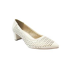 Giày Gót Vuông 5cm Bít Mũi Đục Lỗ Up&Go P05-571-CRE - Kem