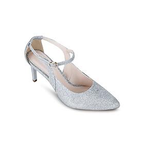 Giày Sandals Cao Gót 7cm Đính Kim Tuyến Up & Go P07-467-SIL - Bạc
