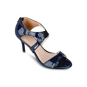 Giày Sandals Cao Gót 7cm Quai Ngang Up & Go S07-455-BLU- Xanh Navy