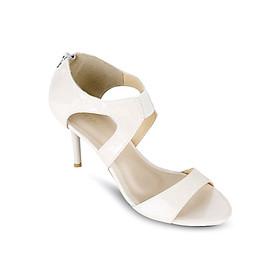 Giày Sandals Cao Gót 7cm Quai Ngang Up & Go S07-455-CRE- Trắng Kem