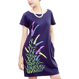 Hình đại diện sản phẩm Đầm Dáng Suông Vẽ Họa Tiết An Thủy TN610 - Tím