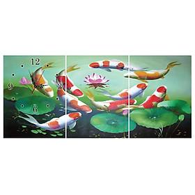 Tranh Đồng Hồ Vicdecor DHT0116 - Cửu Ngư Quần Hội