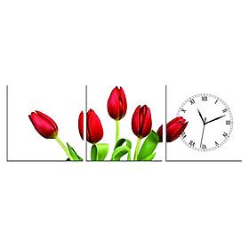 Tranh Đồng Hồ Vicdecor DHT0123 - Tulip Đỏ