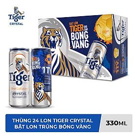 Thùng Bia Tiger Crystal 24 Lon Cao (330ml/Lon) (Bật lon Tiger giơ cao bóng vàng)