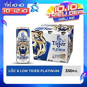Lốc 6 lon bia lúa mì Tiger Platinum Wheat Lager 330ml/lon