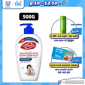 Nước rửa tay Lifebuoy 500g Sữa dưỡng ẩm giúp chăm sóc và bảo vệ khỏi 99.9% vi khuẩn trên tay