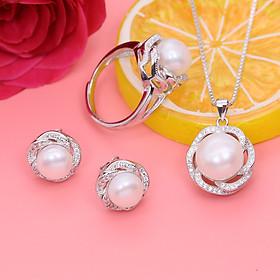 Bộ trang sức Ngọc Trai Thiên Nhiên T4 màu trắng Bảo Ngọc Jewelry  (Freesize)