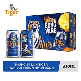 Thùng Bia Tiger 24 Lon (330ml / Lon) (Bật lon Tiger giơ cao bóng vàng)