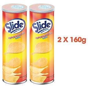 Combo 2 Bánh lát snack khoai tây Slide vị tự nhiên, lon 160g