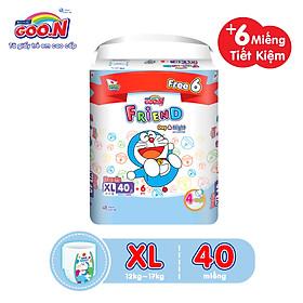 Tã Quần Goon Friend Doremon Mới Gói Cực Đại XL40 (12kg ~ 17kg) + Tặng thêm 6 miếng tiết kiệm hơn (pack mới)