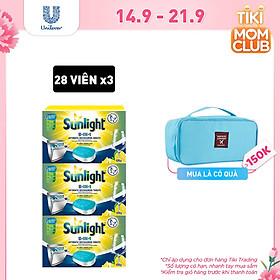 Combo 3 Hộp Viên Rửa Chén Bát Sunlight 5 trong 1 Dành Cho Máy Rửa Chén Bát (28 viên/hộp)