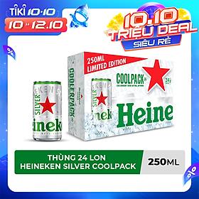 Thùng 24 lon bia Heineken Silver Coolpack 250ml/lon