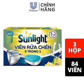 Combo 3 hộp Viên Rửa Chén Sunlight 5 in 1 Dành Cho Máy Rửa Chén