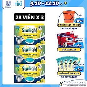 Combo 3 Hộp Viên Rửa Chén Bát (28V/hộp) Sunlight 5 in 1 Cho máy rửa chén bát Công nghệ PureClean không để lại vêt ố