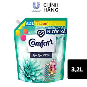 Nước Xả Vải Comfort Giữ Màu & Bền Vải Ngăn Ngừa Mùi Hôi, Một Lần Xả Hương Tươi Mát túi 3.2L