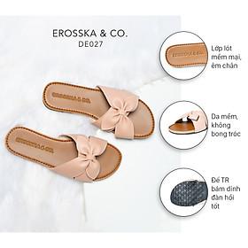 Dép nữ thời trang Erosska quai ngang đính nơ đế bệt DE027