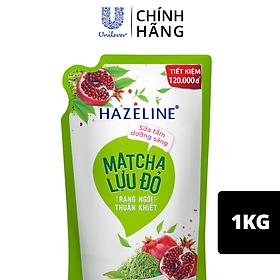 Túi Sữa Tắm Dưỡng Thể Thiên Nhiên Trắng Sáng Da Hazeline Matcha Lựu đỏ Sáng Mịn Rạng Ngời 1kg