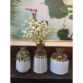 Set 3 lọ hoa mini siêu xinh- Gốm sứ Bát Tràng - Bình Hoa Trang Trí - Decor nhà cửa (Giao dáng lọ ngẫu nhiên)