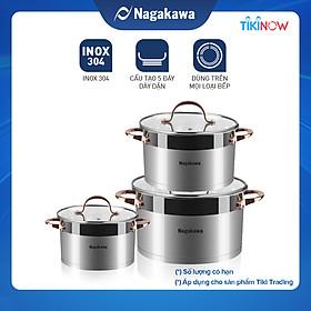 Bộ 3 Nồi Inox 304 Đáy Từ 5 Đáy Nagakawa NAG1352 (16cm, 20cm, 24cm) - Hàng Chính Hãng