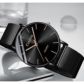Đồng Hồ Nam Crnaira CR8333 Siêu Mỏng mặt đồng hồ tròn, thiết kế đẹp mắt, sáng bóng với tính năng hiện đại cho phái mạnh tự tin, mạng mẽ và thời trang  thiết kế ôm tay với Dây Thép Mành
