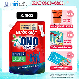 Nước giặt Túi 3.1kg OMO Matic Cho máy giặt cửa trên Sạch bẩn Khử mùi Sạch bẩn Khử mùi toàn diện