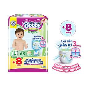 Tã quần Bobby mới L68 - Lõi nén thần kì 3mm - Siêu mỏng khô thoáng bất ngờ - Tặng thêm 8 miếng