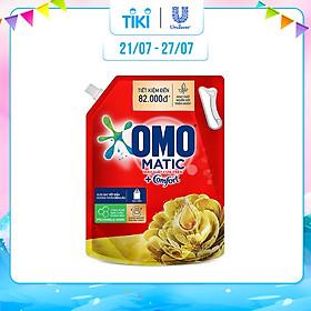 Nước giặt OMO Matic Comfort hương Tinh dầu thơm cho máy giặt cửa trên, xoáy bay vết bẩn, hương thơm bền lâu, túi 3.7kg
