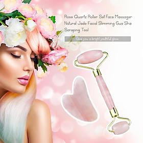 Rose Quartz Roller Set Face Massager Natural Jade Facial Slimming Massage Roller Stone Gua Sha Scraping Tool Bộ chăm sóc sắc đẹp Hộp quà