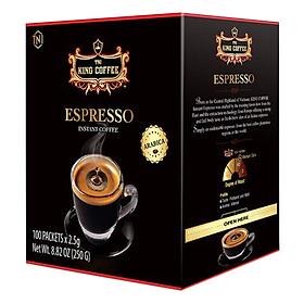 Cà Phê Đen Hòa Tan Espresso KING COFFEE - Hộp 100 gói x 2.5g