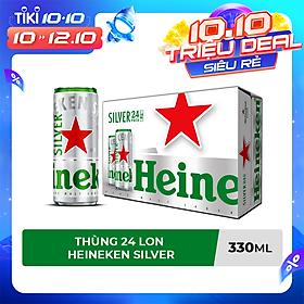 Thùng 24 lon cao Heineken Silver (mới) (330ml/lon)