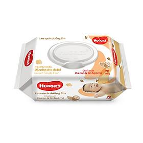 Combo 4 gói Khăn giấy ướt cho trẻ sơ sinh HUGGIES (Gói 72 tờ) - Chiết xuất Cao cao & Bơ hạt mỡ
