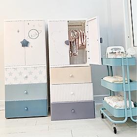 Tủ Kub 4 tầng bằng nhựa đựng quần áo cho bé, có ngăn treo đồ, màu sắc bắt mắt
