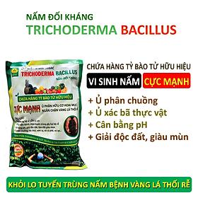 Chế phẩm vi sinh Trichoderma TRIBAC. Nấm đối kháng cực mạnh. Ngăn chặn tuyến trùng, nấm bệnh gây vàng lá thối rễ. Ủ phân chuồng hoai mục