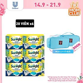 Combo 6 Hộp Viên Rửa Chén Bát Sunlight 5 trong 1 Dành Cho Máy Rửa Chén Bát (28 viên/hộp)