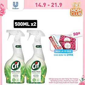 Combo 2 Nước Lau Đa Năng Cif Thiên Nhiên 500ml Chanh & Sả Sạch Vết Bẩn An Toàn