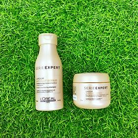 Combo du lịch Dầu gội xả phục hồi tóc L'oreal Serie Expert Lipidium Absolut Repair Instant resurfacing travel kit 100ml