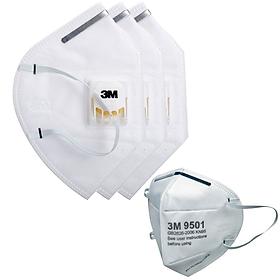 Combo 3 khẩu trang 3M 9001V có van thở và 1 khẩu trang 3M 9501 chống bụi siêu mịn PM2.5 và chống virus
